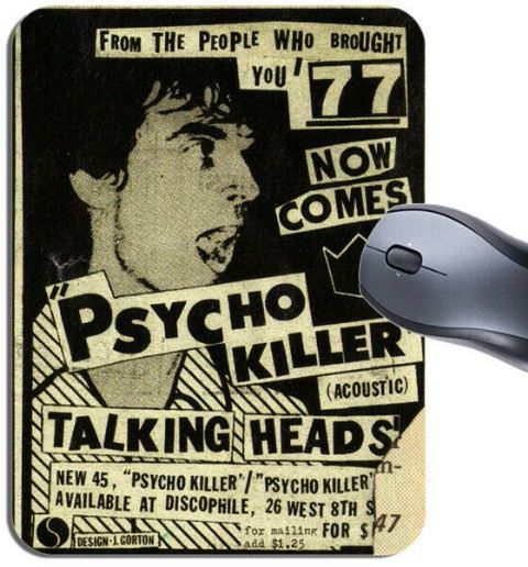 Talking Heads Psycho Killer Vintage Flyer Mouse Mat. Punk Poster Mouse Pad